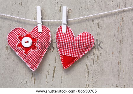 two handmade hearts on line - stock photo