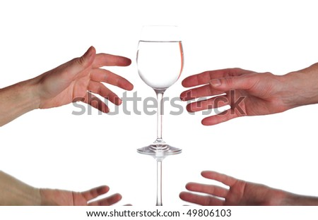 two hands and glass with water