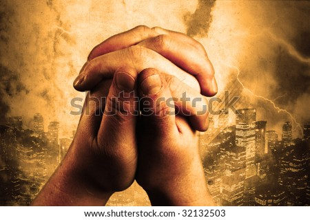 two hands are praising the holy lord - stock photo