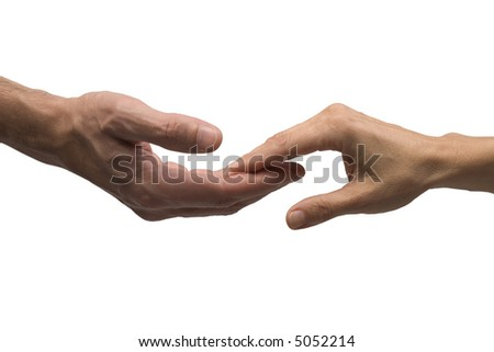 Two hands contact on white background with clipping path - stock photo