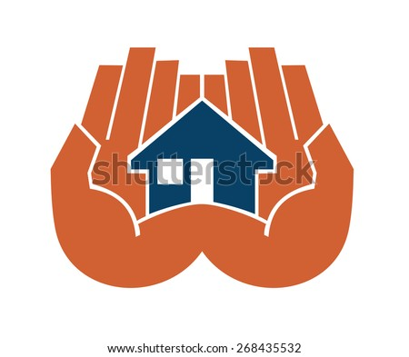 Two hands cupping a house protecting and sheltering it from risk and damage in a home ownership and insurance concept - stock photo