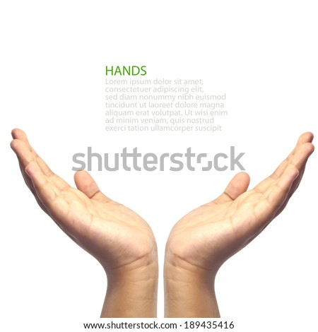 Two hands facing upward , cup by hands, woman or female symbol - stock photo