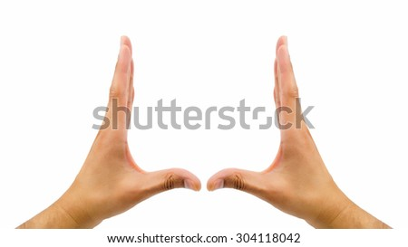 two hands gesturing the rectangular shape on white background - stock photo