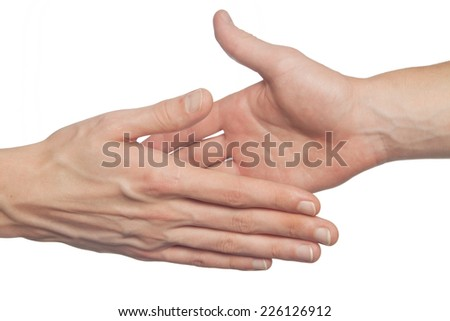 Two hands giving a high five isolated on white - stock photo