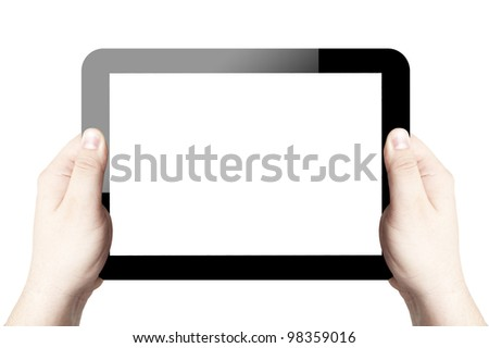 Two hands holding and point on digital tablet with white screen. Isolated on white background
