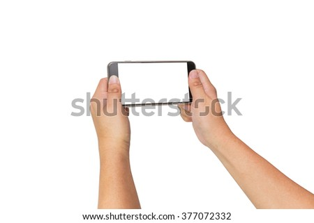 Two hands holding big screen smart phone, clipping path - stock photo