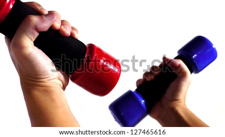 Two Hands Holding Dumbbell. - stock photo