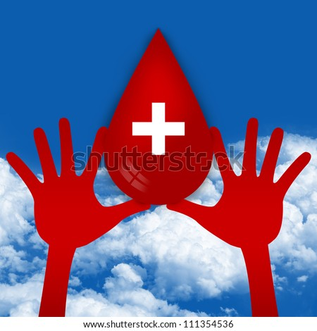 Two Hands Holding Red Blood Drop With Cross Sign Inside in Blue Sky Background, Graphic For Blood Donation Campaign - stock photo