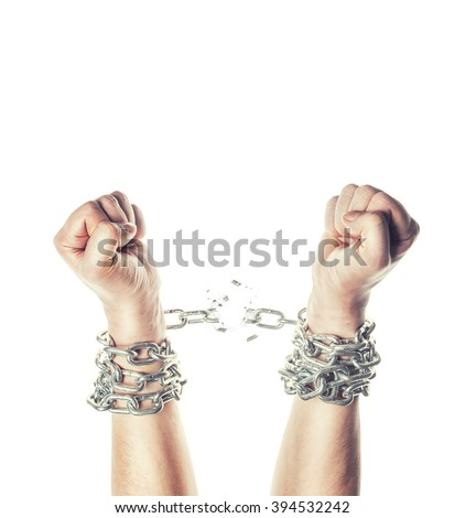 Two hands in chains on a white background - stock photo