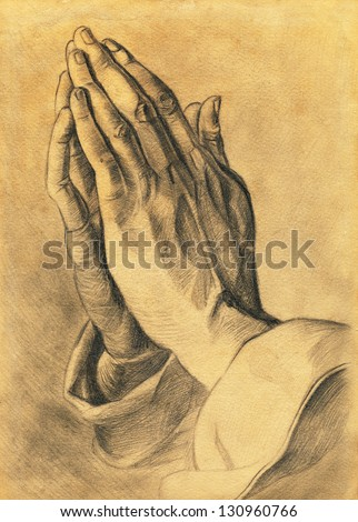 two hands in prayer pose. pencil drawing. - stock photo