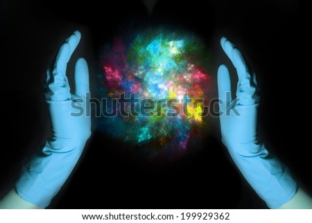 Two hands in rubber gloves with orb arcing between them