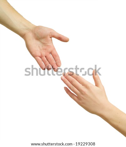 Two hands isolated on a white background. - stock photo