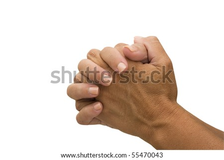 Two hands  isolated on a white background, praying - stock photo