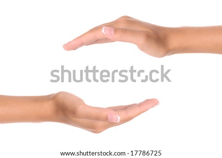 Two hands isolated on white background - copy space