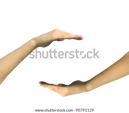 Two hands isolated on white background protect something