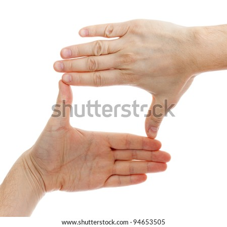 two hands make frame shape isolated - stock photo