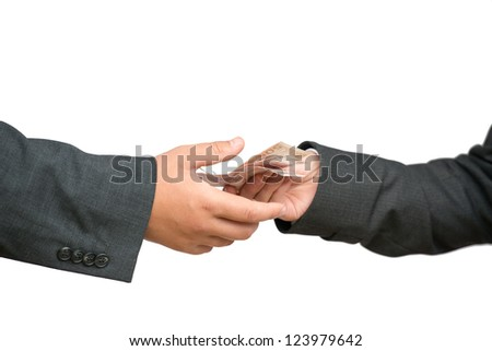two hands of business people exchanging euro banknotes, corruption