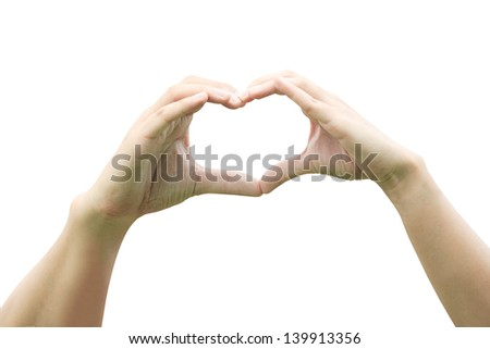 Two hands of lovers with clipping path