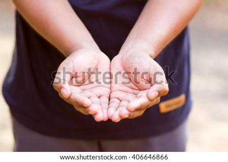 Two hands of man open palm gesture - stock photo