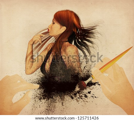 Two hands painting the dress of a beautiful woman, vintage background. - stock photo
