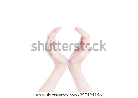 Two hands protecting something on white background  - stock photo