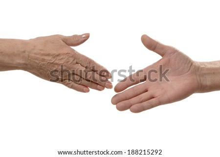 Two hands ready for handshake isolated on white background