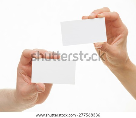Two hands showing empty visiting, white background - stock photo