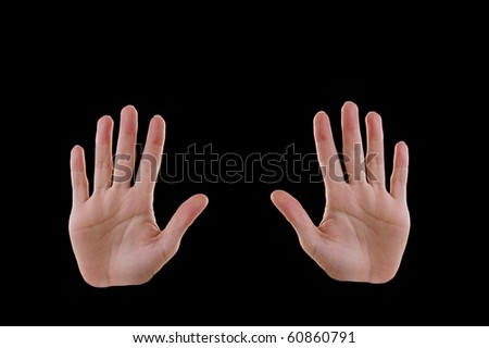 Two Hands, Ten Fingers Isolated on Black - stock photo