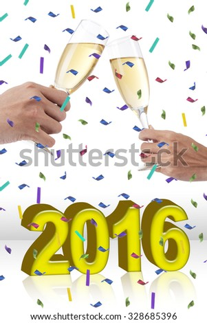 Two hands toasting champagne in the glasses while celebrating new year 2016 - stock photo