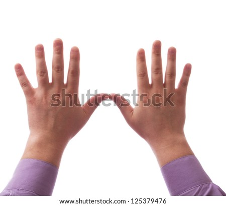 Two hands together on white background - stock photo