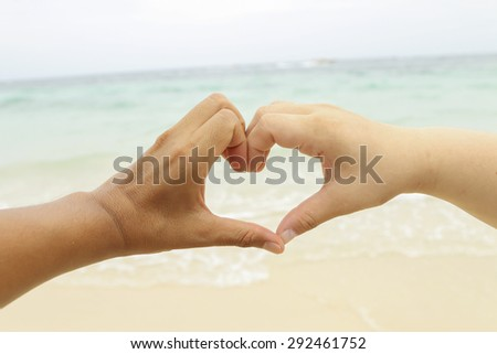 Two hands touching for heart love action for background. - stock photo