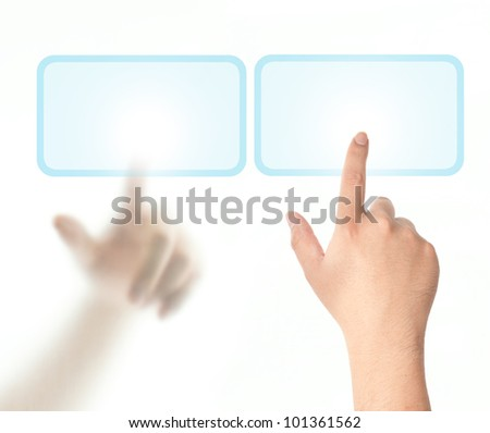 Two hands touching on touch screen from different side - stock photo