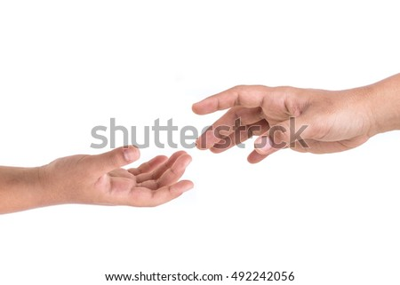 Two hands try to reach. Help or support concept. Isolated on white background
