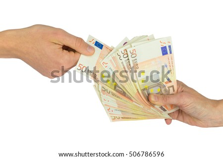 Two hands with pile of money isolated on white background