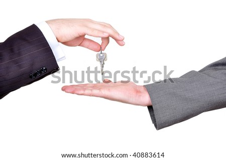 Two hands with property key