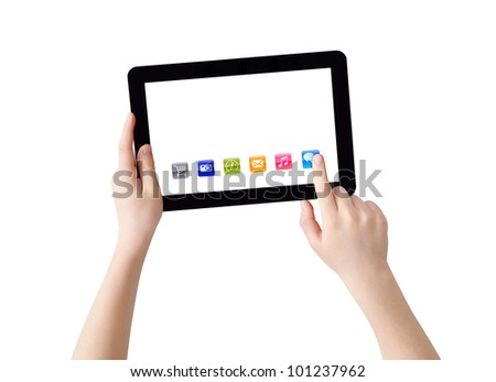 Two hands with Tablet PC, finger pointing abstract application, isolated on white, clipping path - stock photo