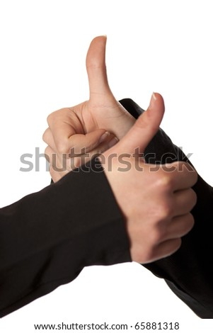 Two hands with their thumbs raised up. White background