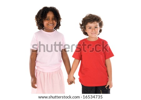 two handsome children of different races with their hands together - stock photo