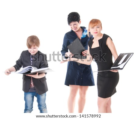 two handsome women and their boss holding folder with papers
