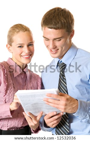 Two happy business people in office, isolated on white - stock photo