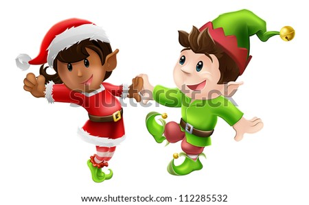 Two happy Christmas elves enjoying a Christmas dance in Santa outfit and elf clothes - stock photo