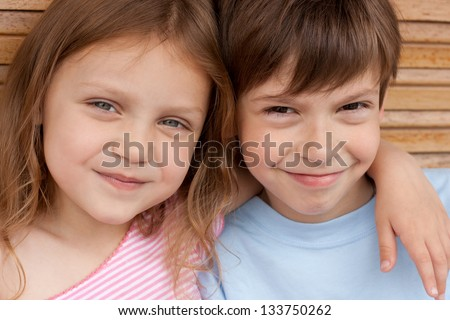 two happy friends - stock photo