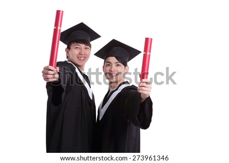 Two happy graduates student isolated on white background, asian