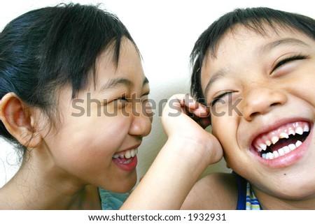 Two happy kids. - stock photo