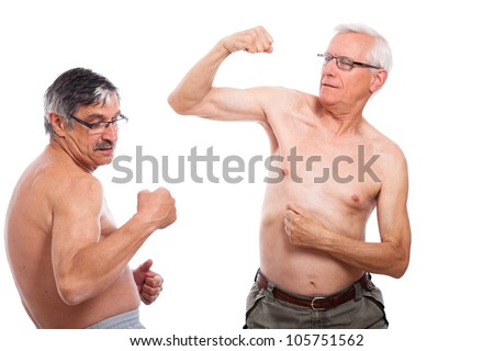 Two happy naked senior men comparing muscles, isolated on white background.