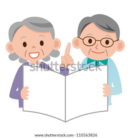 Two happy senior citizens - stock photo