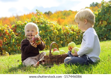 Two happy, wholesome young children, a little boy and his baby brother are sitting outside in the grass at an apple orchard in the autumn, eating and playing with apples in a wicker basket - stock photo