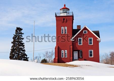 Two Harbors Lighthouse winter time. Two Harbors, Minnesota, USA - stock photo