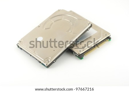 Two hard drives (HDD) for notebook. Shallow DOF. - stock photo