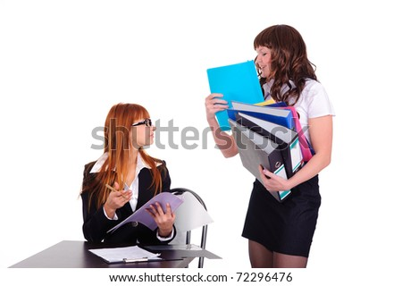 Two hardworking businesswoman isolated on white